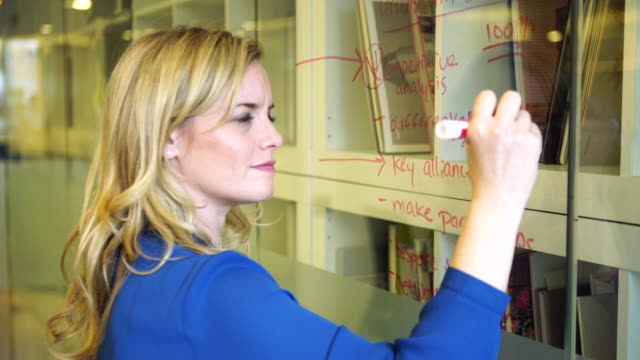 Inspired Female Executive Writes on Glass