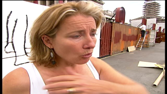 installation in trafalgar square highlights problems of sex trafficking day emma thompson interview sot - emma thompson stock videos & royalty-free footage