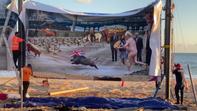 installation of cold war steve's windbreak artwork prior to it being censored on boscombe beach on september 25, 2020 in bournemouth, england. the... - bournemouth england stock videos & royalty-free footage