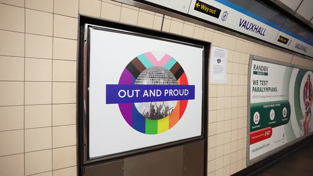 installs new equality signs across london underground tube network on september 27, 2021 in london, england. - business finance and industry stock videos & royalty-free footage