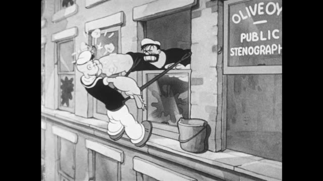 1937 instead of cleaning windows, bluto and popeye begin to fistfight on edge of tall building - punching stock videos & royalty-free footage