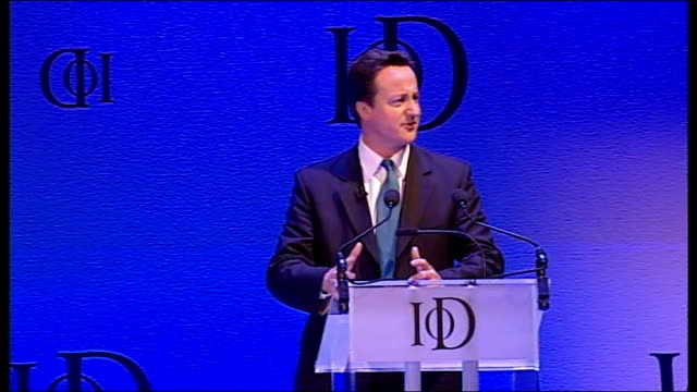 David Cameron ENGLAND London Royal Albert Hall INT David Cameron MP speech to Institute of Directors Conference SOT jokes about Kevin Spacey film...