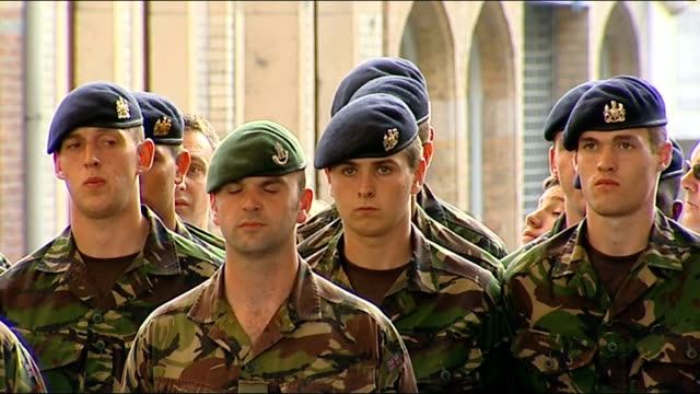 Instructor talking to latest batch of British army recruits SOT company fix bayonets Soldier cocking gun as others look on Soldier recruits lined up...