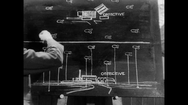 b/w raf instructor using drawing on blackboard and explaining theory of barrage balloon tactics to classroom of airmen, seated at desks taking notes / united kingdom - military school stock videos and b-roll footage