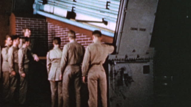 instructors explaining the construction and mechanics of boilers to student officers a the maritime service officers' school / alameda, california,... - military recruit stock videos & royalty-free footage
