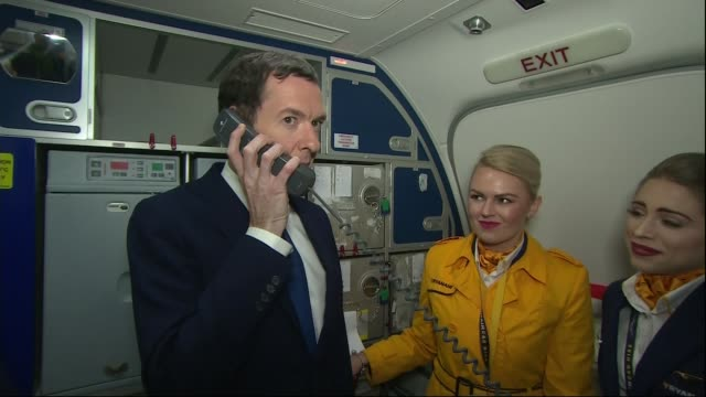 insults in recent political campaigns england essex stansted photography** george osborne mp towards through plane osborne along to cabin crew george... - george osborne stock videos and b-roll footage