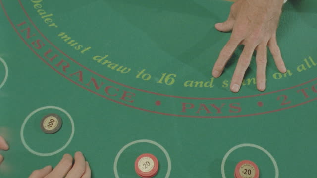 int. gambling table, blackjack, various angles - blackjack video stock e b–roll