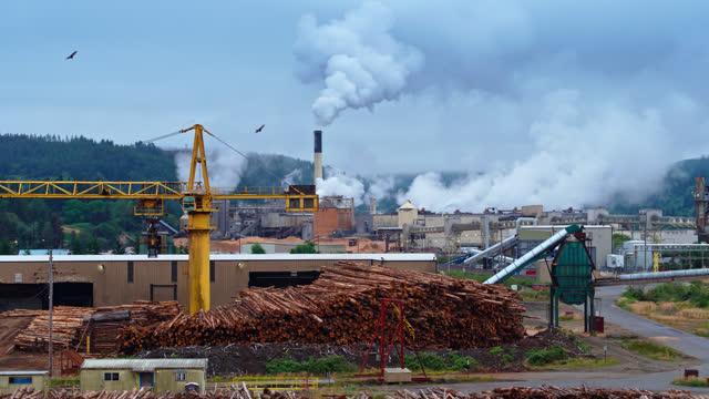 オレゴン州の統合製紙工場 - 空中写真 - 材木置き場点の映像素材/bロール