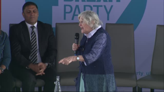 inteiror shots of ann widdecombe, brexit party european election candidate, speaking to crowds at a brexit party rally in fylde, lancashire, united... - ann widdecombe stock videos & royalty-free footage