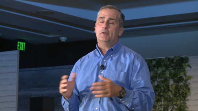 intel ceo brian krzanich appears on stage at intel's make it wearable challenge in san francisco - cpu stock videos & royalty-free footage