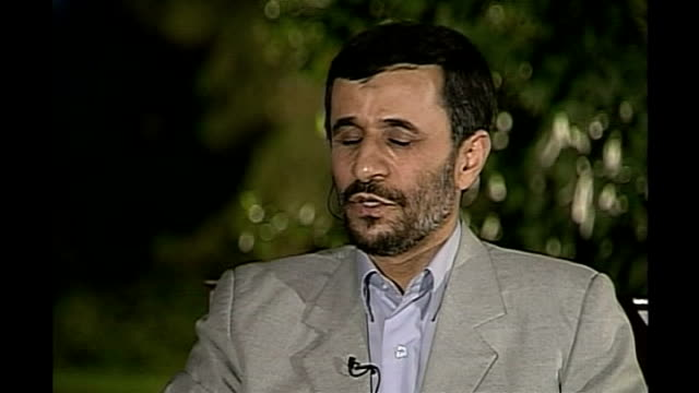 Intelligence report plays down nuclear threat IRAN Iranian President Mahmoud Ahmadinejad as interviewed by reporter