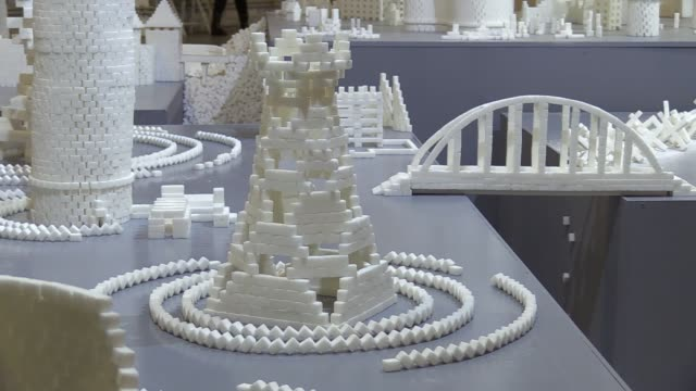 "interactive sculpture installation from sugar cubes ""sugar democracy"",by artists from northern ireland brendan jamison and mark revels,was presented... - sculpture stock videos & royalty-free footage"