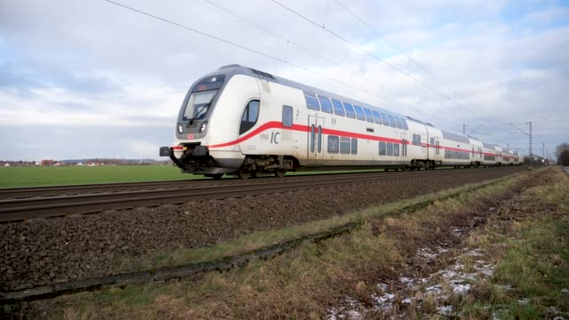 intercity 2 of the deutsche bahn (db) between osnabrück and hannover - rail transportation stock videos & royalty-free footage