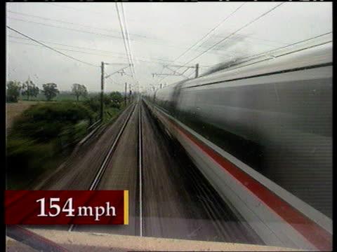 Intercity 225 breaks sped record CF ENGLAND between Grantham Peterborough FORWARD along railway lines at high speed overhead powerlines in shot...