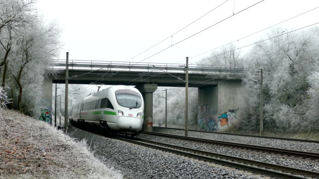 db intercity express im winter - germany stock videos & royalty-free footage
