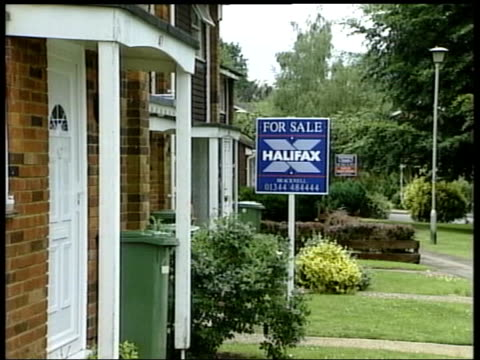 interest rates to rise; itn lib ???: ext gv 'for sale' sign outside house - interest rate stock videos & royalty-free footage