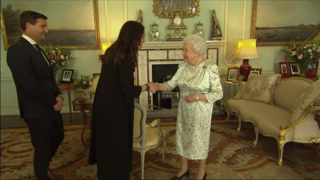 Interiior shots of Queen Elizabeth II hosting a meeting with New Zealand Prime Minister Jacinda Ardern in Buckingham Palace on 19 April 2018 in...