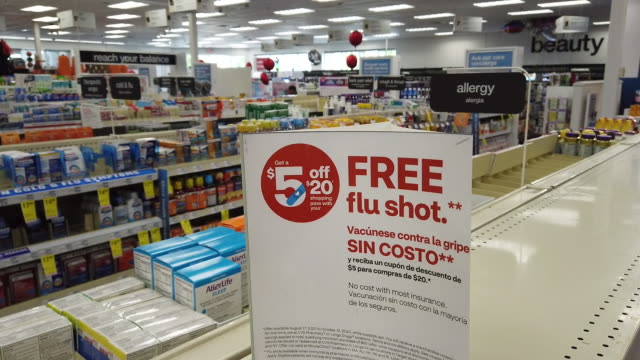 interior a cvs health corp. pharmacy offering a free flu shot vaccine to customers in miami, fl, u.s. on wednesday, september 30, 2020. cvs health... - human arm stock videos & royalty-free footage