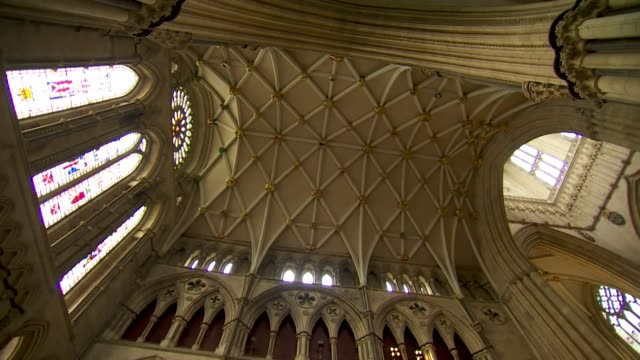 interior and exterior of york minster restored after fire in 1984 - 1984 stock-videos und b-roll-filmmaterial