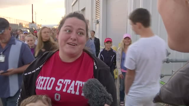 Interior and exterior shots of Donald Trump supporters giving their opinions on Donald Trump after his rally on November 4 2016 in Wilmington Ohio...