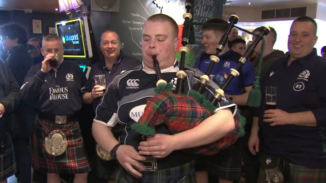 interior and exterior shots of scottish rugby fans in cardiff ahead of the postponed wales v scotland six nations match on 14th march 2020 in... - kilt stock videos & royalty-free footage