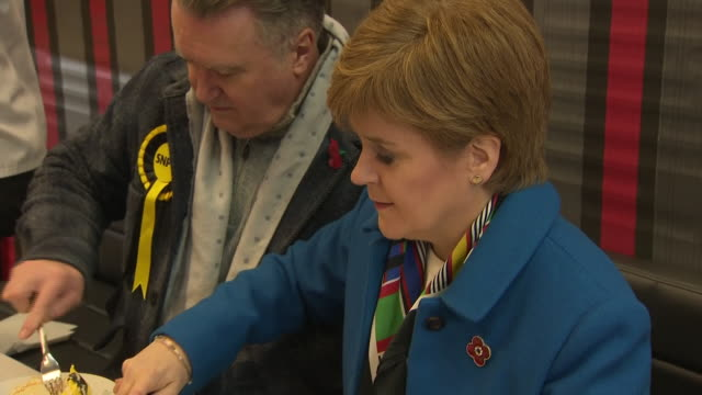 interior and exterior shots of snp party leader, nicola sturgeon launching the snp election campaign on 6 november 2019 in alloa, united kingdom. - nicola sturgeon stock videos & royalty-free footage