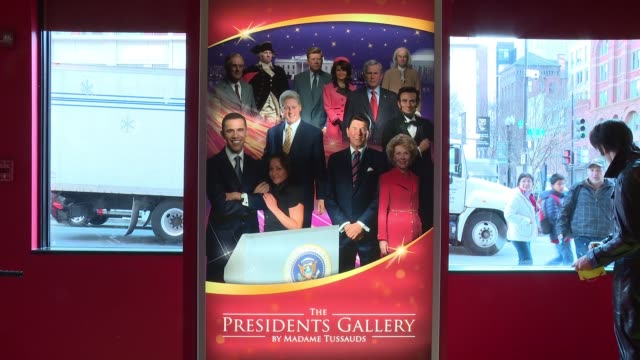 ATMOSPHERE interior and exterior signage at Donald Trump Wax Figure Unveiled At Madame Tussauds Wax Museum In DC at Madame Tussauds on January 18...
