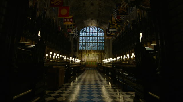 interior artistic shots of st george's chapel inside windsor castle the location for the wedding of prince harry and meghan markle on 11th february... - windsor england stock videos and b-roll footage