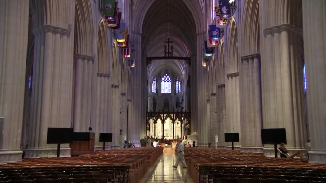 interior camera zoom on the end of the washington national cathedral during setup for john mccainõs funeral on september 31, 2018 in washington d.c. - religion or spirituality stock videos & royalty-free footage