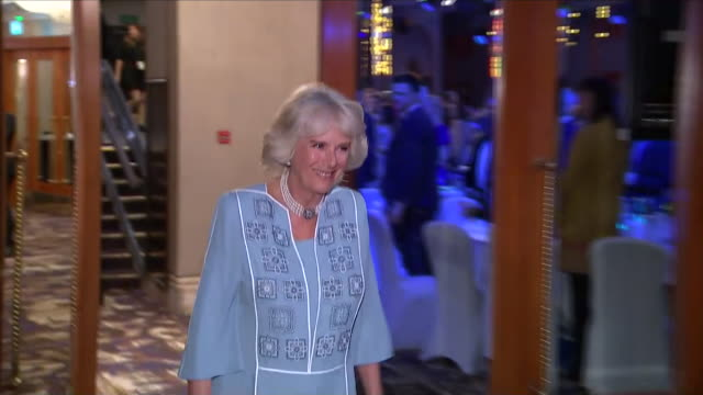 interior close up shots of camilla the duchess of cornwall entering a function room inside the park lane hilton hotel for the nhs heroes awards and... - richard hammond stock videos & royalty-free footage