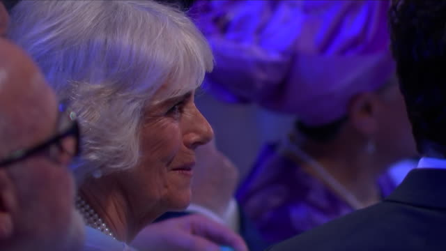 interior close up shots of camilla the duchess of cornwall seated during the nhs heroes awards ceremony at the park lane hilton hotel on 14th may... - richard hammond stock videos & royalty-free footage