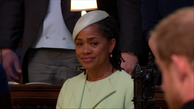 interior close up shots of meghan markle's mum doria ragland stood inside st george's chapel looking emotional and sad as her daughter walks down the... - chapel stock videos & royalty-free footage