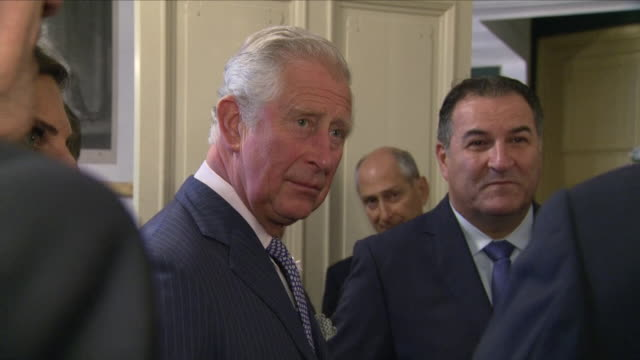 interior close up shots of prince charles meeting and speaking to various members of the jewish community as he attends the 70th anniversary event at... - platinum stock-videos und b-roll-filmmaterial