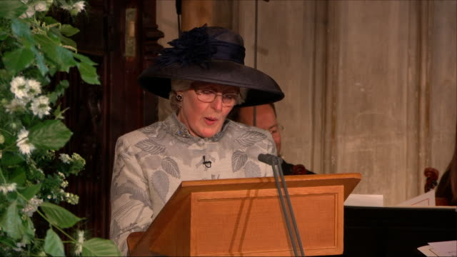 Interior close up shots of The Lady Jane Fellowes the sister of Princess Diana delivers a reading to the congregation from The Song of Solomon during...