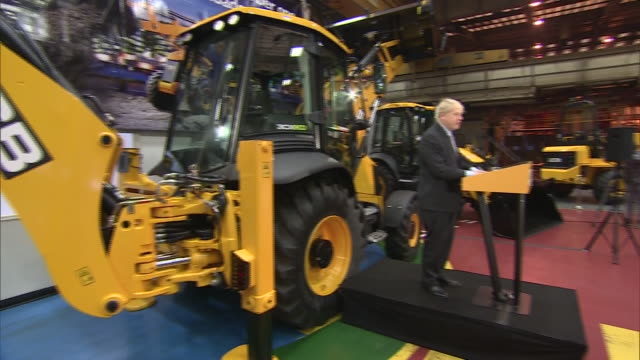 Interior cutaway shots of Boris Johnson giving a speech on Brexit at the JCB factory on 18 January 2019 in Rocester Staffordshire United Kingdom