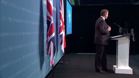 interior cutaway shots of british prime minister david cameron giving a press conference at the g20 conference and walking off the stage on november... - cutaway video transition stock videos & royalty-free footage