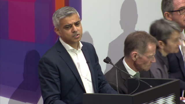 interior cutaway shots of london mayor sadiq khan speaking at the opening of a new extension of the tate modern gallery on the importance of... - sadiq khan stock videos & royalty-free footage