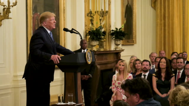 interior cutaway shots of president donald trump making a speech on climate change as daughter ivanka trump watches on 29 july 2019 in washington dc... - klima stock-videos und b-roll-filmmaterial