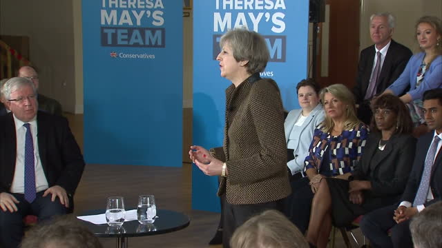 interior cutaway shots of theresa may addressing supporters at a campaign rally in harrow on may 08, 2017 in harrow, england. - harrow stock videos & royalty-free footage