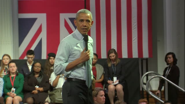 Interior cutaway shots President Barack Obama on stage at Lindley Hall giving only public speech whilst on visit to UK on April 22 2016 in London...