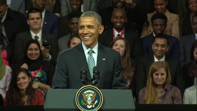 interior cutaway shots president barack obama on stage at lindley hall giving only public speech whilst on visit to uk on april 22 2016 in london... - speech stock videos & royalty-free footage