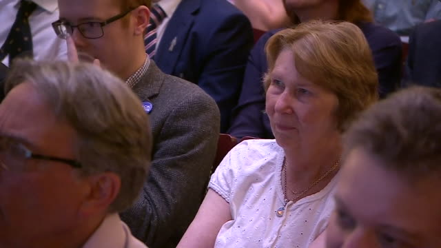 interior cutaway views of boris johnson at the conservative party leadership hustings event, including views of the audience on 5 july 2019 in... - darlington nordostengland stock-videos und b-roll-filmmaterial