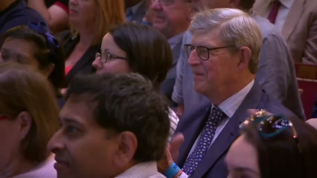 interior cutaway views of boris johnson speech at the conservative party leadership hustings event, including views of the audience on 5 july 2019 in... - darlington nordostengland stock-videos und b-roll-filmmaterial