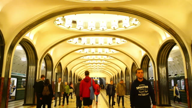 interior decoration of metro station in moscow - former soviet union stock videos & royalty-free footage