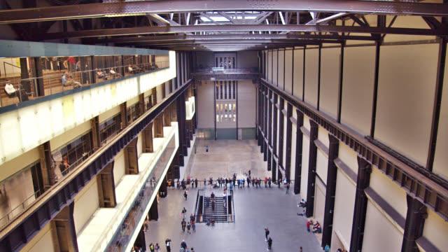 interior design architecture of tate modern museum. tourist destination. - railings stock videos & royalty-free footage