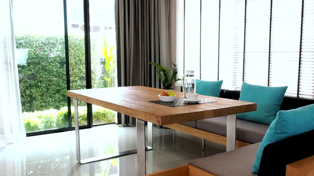 interior design of modern dining room - home showcase interior stock videos & royalty-free footage