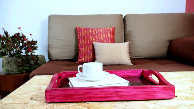 interior design of modern living room decoration - tray stock videos & royalty-free footage