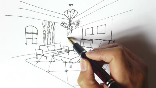 stockvideo's en b-roll-footage met interior design sketches,hand-painted - betegelde vloer