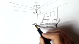 Interior design sketches,Hand-painted