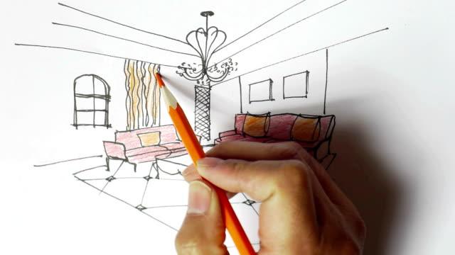 vídeos y material grabado en eventos de stock de diseño interior bocetos, pintado a mano - mesa baja de salón